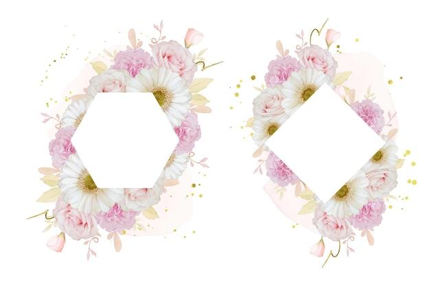Mooi bloemenframe met aquarel roze roos en witte gerberabloem
