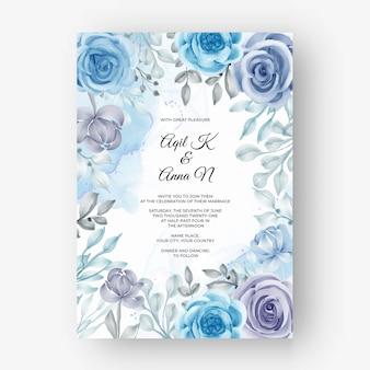 Mooi bloemenframe voor bruiloft met bloem aquarel blauw