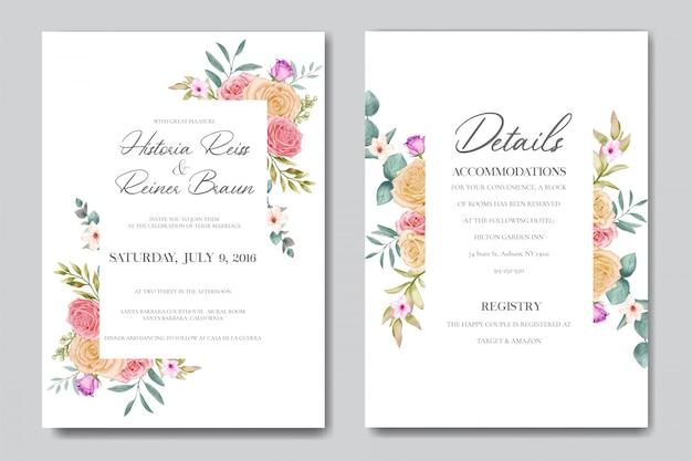 Mooi bloemenframe voor huwelijksuitnodiging