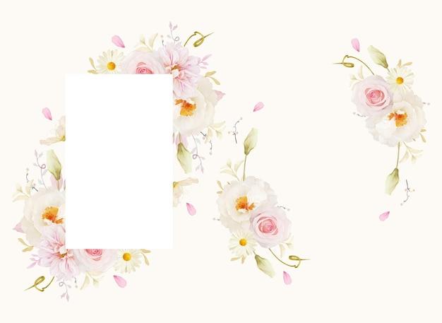 Mooi bloemenkader met dahlia van waterverf roze rozen en witte pioen