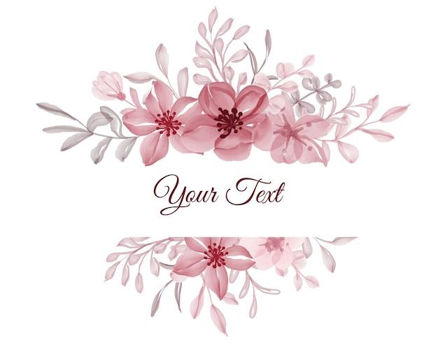 Mooi bloemenkader met elegant bloemrood met bladeren