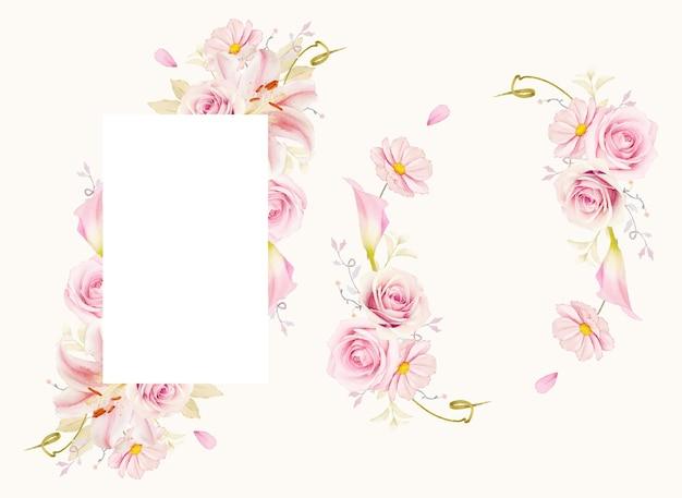 Mooi bloemenkader met lelie van waterverf roze rozen en calla lelie