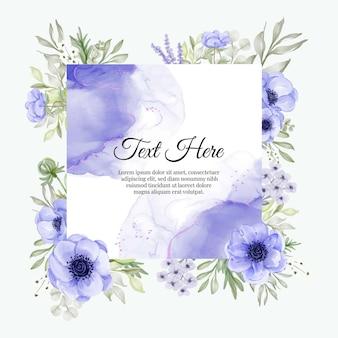 Mooi bloemenkader met paarse anemoon