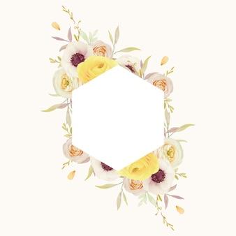 Mooi bloemenkader met ranunculus van waterverfrozen en anemoonbloemen