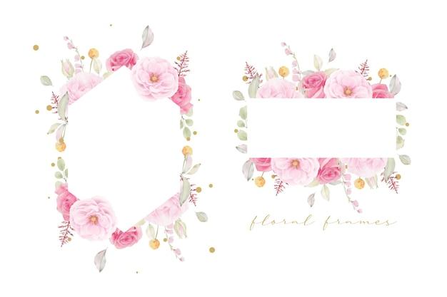 Mooi bloemenkader met roze roze waterverf
