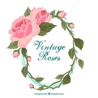 Mooi bloemenkader met vlak ontwerp