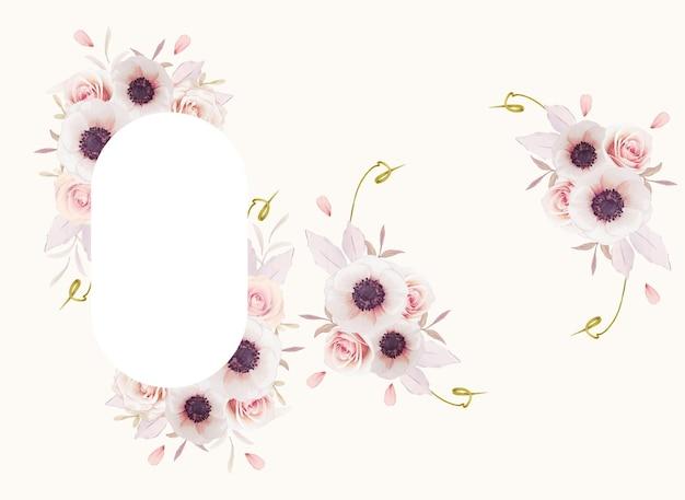 Mooi bloemenkader met waterverf roze rozen en anemonenbloem