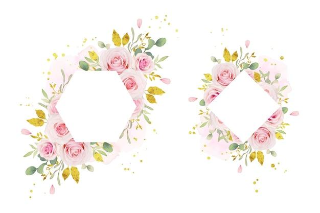 Mooi bloemenkader met waterverf roze rozen en gouden ornament