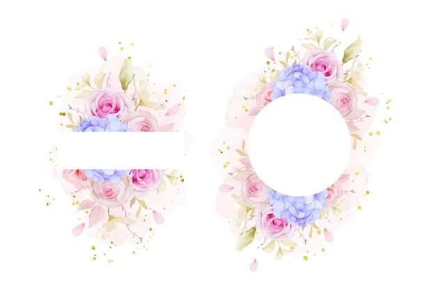 Mooi bloemenkader met waterverfrozen en blauwe hydrangea hortensiabloem