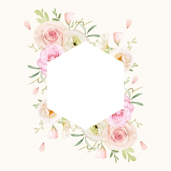 Mooi bloemenkader met waterverfrozen en boterbloem