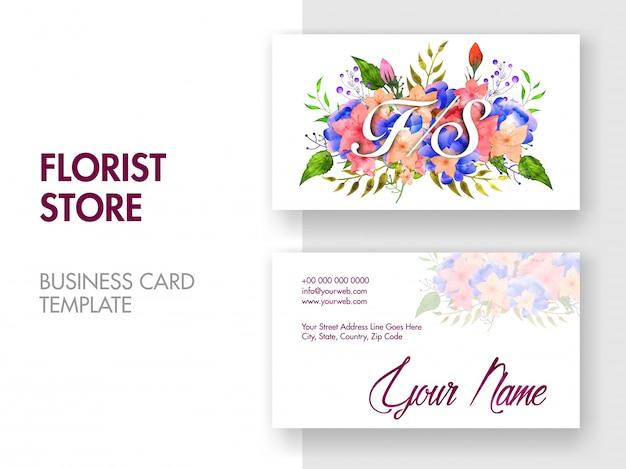 Mooi bloemenontwerp versierd visitekaartje met voor- en achterpresentaties. horizontale visitekaartjes,