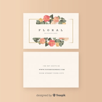 Mooi bloemenvisitekaartje met vlak ontwerp