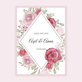 Mooi bloemkader voor huwelijksuitnodiging