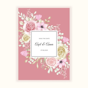 Mooi bloempastelkleurkader voor huwelijksuitnodiging