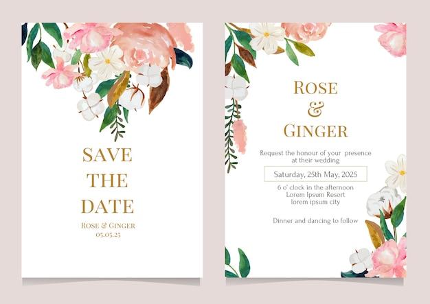 Mooi bloemstuk voor bruiloft uitnodiging sjabloon