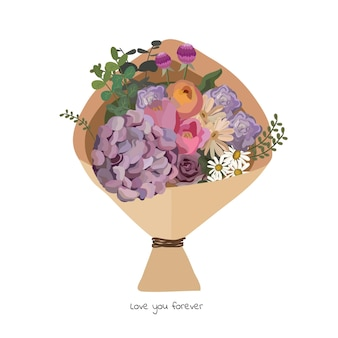 Mooi boeket met tuinbloemen. florale decoratie voor cadeau. vectorillustratie.