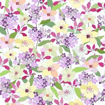 Mooi botanisch tropisch bloem naadloos patroon.