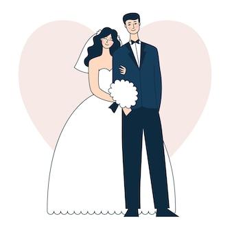 Mooi bruidspaar. bruid en bruidegom. doodle vectorillustratie
