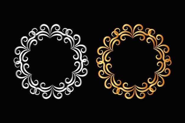 Mooi cirkelvormig gouden bloemenkaderontwerp op zwarte achtergrond