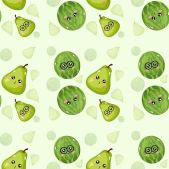 Mooi creatief emoticon watermeloen- en perenpatroonbehang