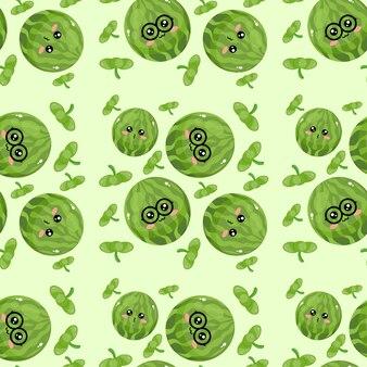 Mooi creatief emoticon watermeloenpatroonbehang