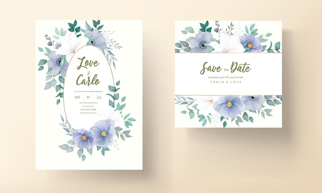 Mooi de kaart bloemenornament van de huwelijksuitnodiging