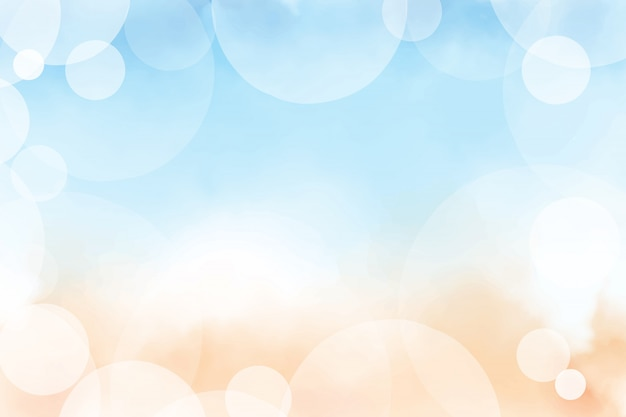 Mooi de zomerstrand en blauwe oceaan hoogste meningswaterverf met bokeh het digitale schilderen als achtergrond