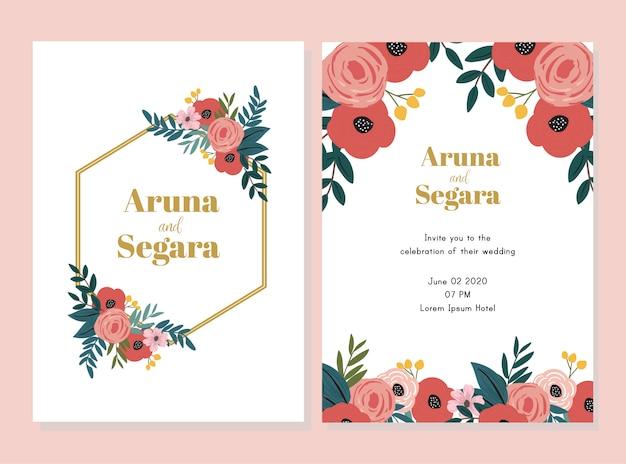 Mooi die de kaartmalplaatje van de huwelijksuitnodiging met bloemillustratie wordt geplaatst