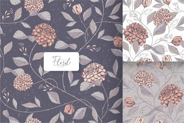 Mooi donker vintage dahlia patroon