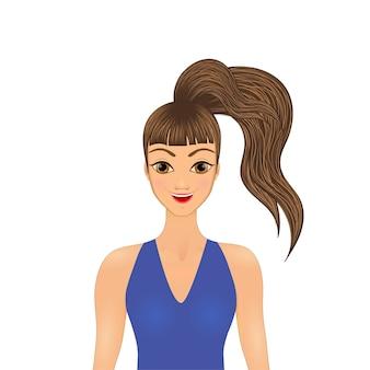 Mooi donkerbruin meisje kijkt recht, mooi gezicht, portretmeisje - vector.