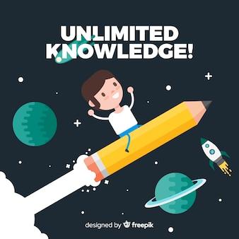 Mooi educactionconcept met vlak ontwerp