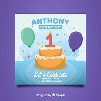 Mooi eerste verjaardagskaartontwerp