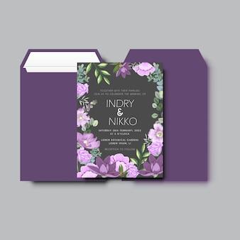 Mooi en elegant huwelijksuitnodiging bloemenconcept