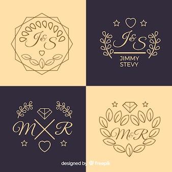 Mooi en elegant logo of logo ingesteld voor bruiloft of bloemist