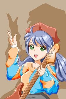 Mooi en funky meisje rockster met gitaar karakter cartoon afbeelding