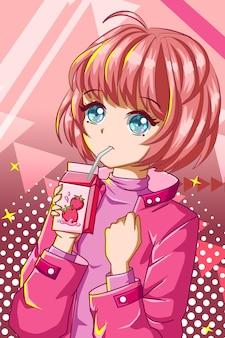 Mooi en schattig meisje met aardbei melk karakter cartoon afbeelding