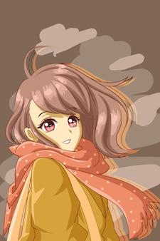 Mooi en schattig meisje met sjaal karakter cartoon afbeelding