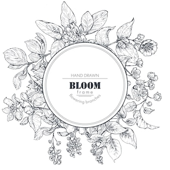 Mooi frame met handgetekende takken, bloemen en planten. monochroom vectorillustratie in schets stijl. sjabloon voor kaarten, uitnodigingen, bruiloftsontwerp