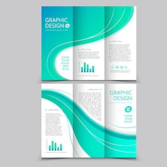 Mooi gevouwen brochure sjabloonontwerp met golfelementen