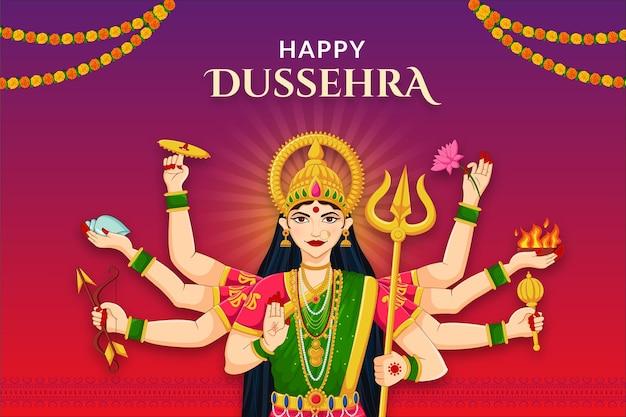 Mooi gezicht van godin durga voor happy dussehra of shubh navratri festival