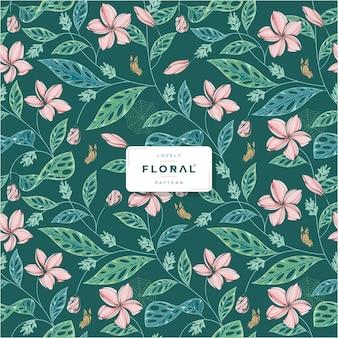 Mooi groen bloemen naadloos patroon
