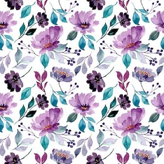 Mooi groen paars bloemenwaterverf naadloos patroon