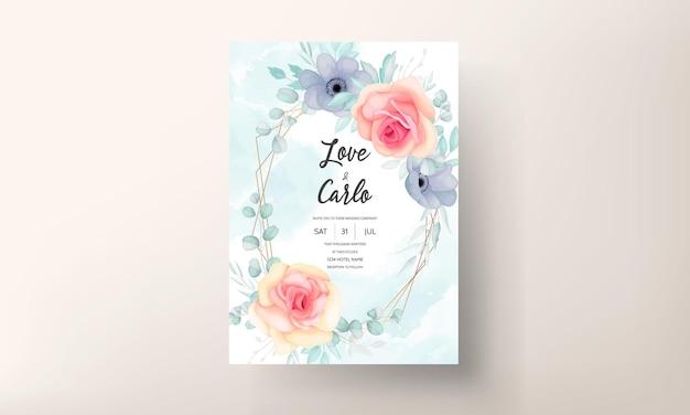 Mooi hand getrokken bloemen de kaartontwerp van de huwelijksuitnodiging