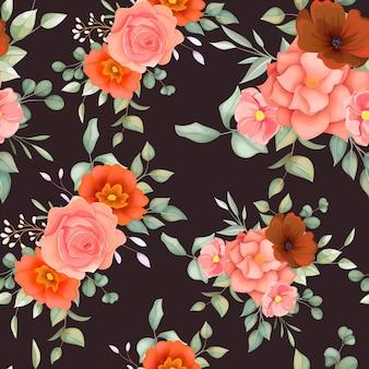 Mooi hand getrokken bloemen naadloos patroon met boho bloemenornament