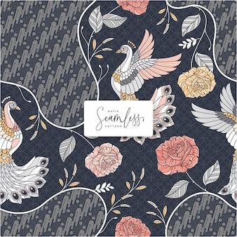 Mooi handgetekend batikpatroon
