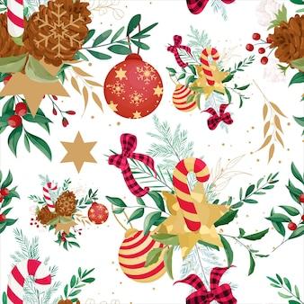 Mooi handgetekend kerstpatroonontwerp