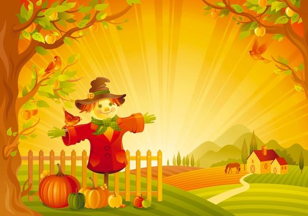 Mooi herfst landschap. herfstplatteland met vogelverschrikker en pompoen. thanksgiving en oogst festival vectorillustratie.