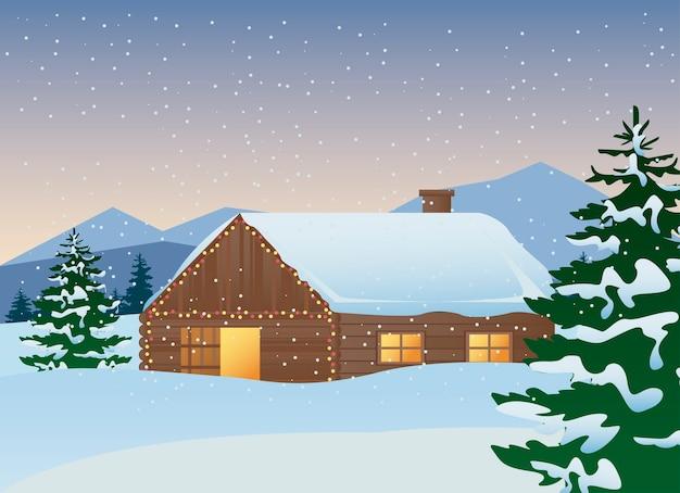 Mooi huis en dennen bomen winterlandschap scène illustratie