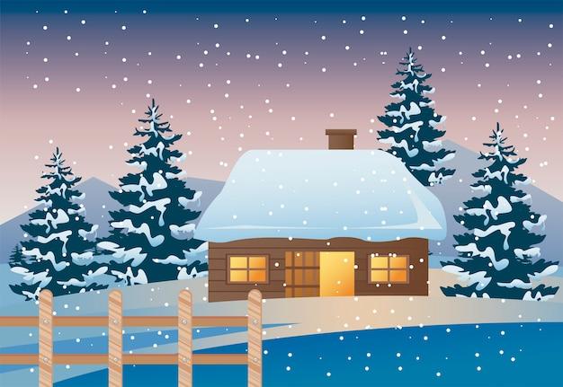 Mooi huis en dennen met houten hek winterlandschap scène illustratie