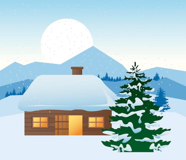 Mooi huis en dennenboom winterlandschap scène illustratie